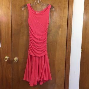 Velvet M Coral Pink Draped Midi Fit Flare Dress